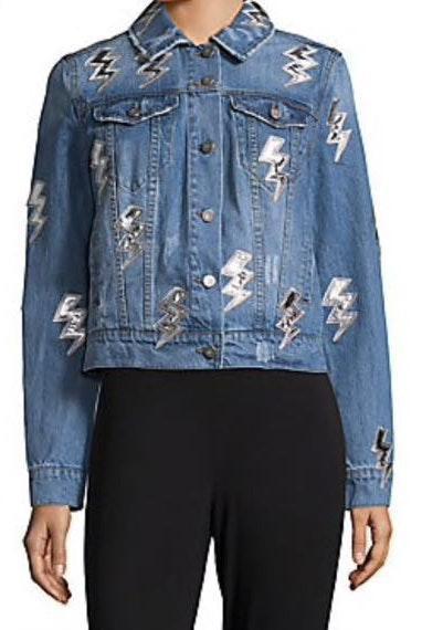 Saks 5th Avenue Bagatelle Lightning Bolt Denim Jacket
