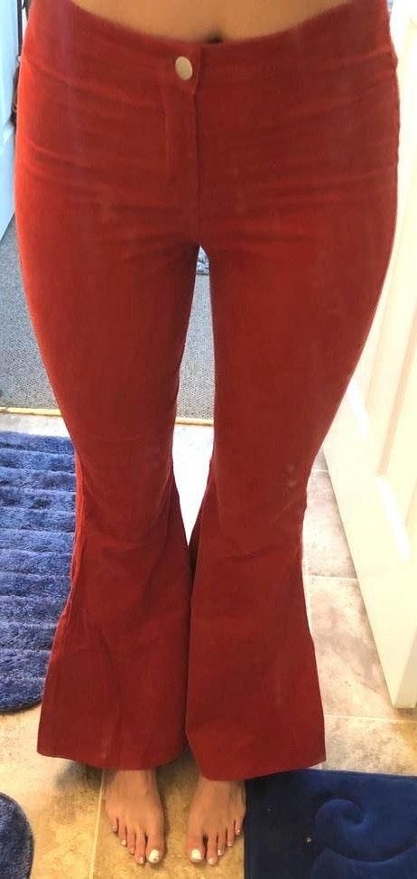 Dress Up Red Corduroy Flares